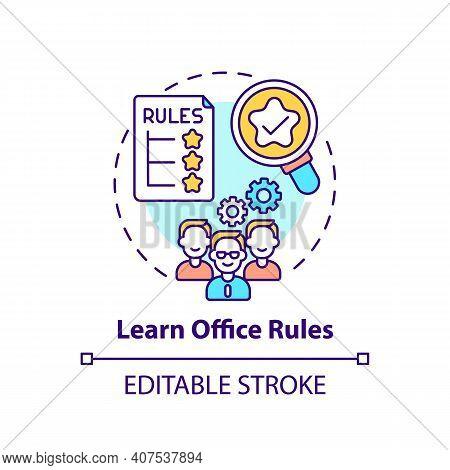 Learn Office Rules Concept Icon. Newbie Adaptation Tips. Corporte Culture Idea Thin Line Illustratio