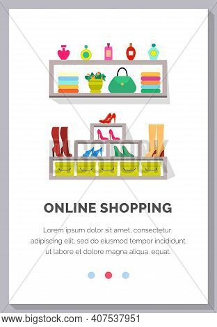 Online Shopping People And Interact With Shop. Landing Page Template Flat Vector Illustration, Onlin