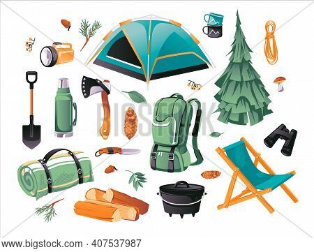 Cartoon Vector Illustration Set Of Camping And Hiking Objects. Tourist Equipment. Hiking Outdoor Ele