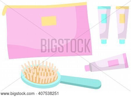 A Set Of Care Items Vector Illustration Isolated On White. Comb And Multi-colored Tubes Of Cream Nea