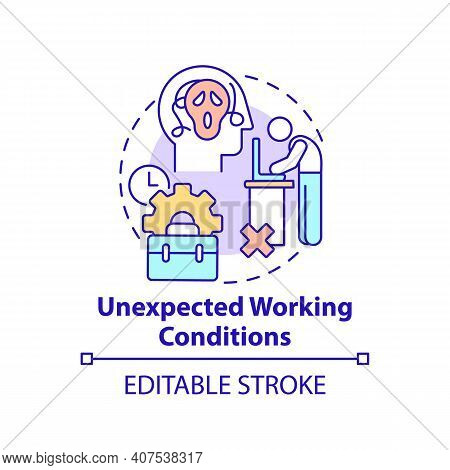 Unexpected Working Conditions Concept Icon. New Worker Emotional Burden Factor. Unfulfilled Desires