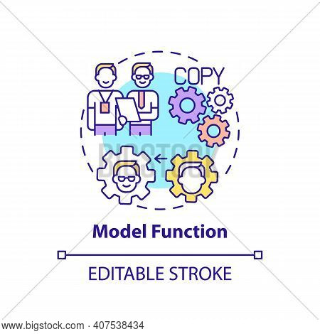 Model Function Concept Icon. Worker Adaptation Functions Of Mentor. Ways Of Behaviour Thin Line Illu