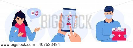 Online Pharmacy. Sick Girl With Temperature Holds A Thermometer And Thinks About Medicaments. Hand I