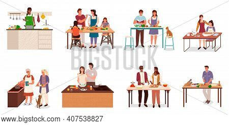 Collection Of People In Kitchen Preparing Food. Isolated Set Of Couples Cooking Together. Mom Teachi
