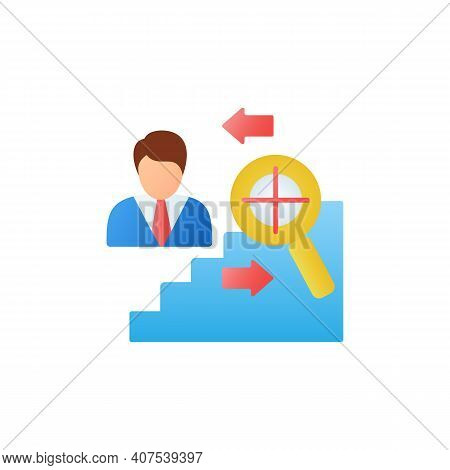 Find Purpose Flat Icon. Personal Growth Concept. Catch Out Goals. Self Improving. Life Purpose. Self