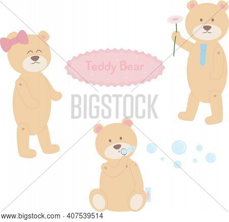 Cute Bears With Tie And Bow, Bear Blowing Soap Bubbles, Gentleman With Flower