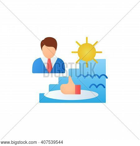 Comfort Zone Flat Icon. Route To Success. Self Improvement And Self Realization. Business And Career