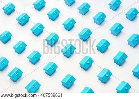 Real Estate Or Property Market Cottage Home. Abstract Model Village Or City District Construction Ne