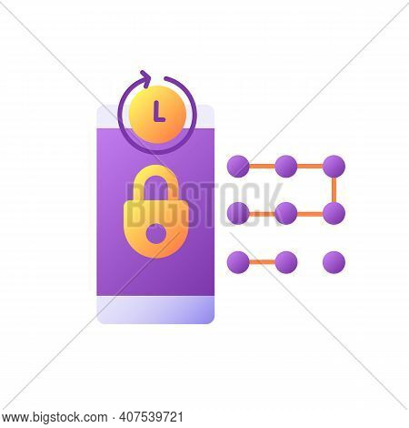 Request New Pin Vector Flat Color Icon. E Wallet Security System. Entering Smartphone Passcode. Bank