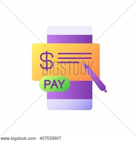 Pay In Cheques Vector Flat Color Icon. E Billing System. Mobile Banking Service. Online Paperless Ch