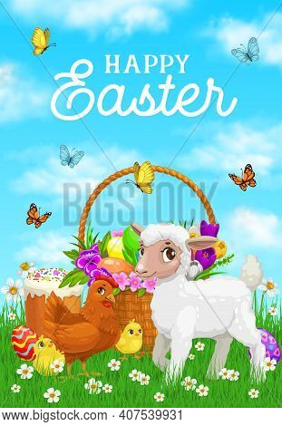 Happy Easter Greeting Card Template With Lamb Baby, Hen And Chicks On Meadow Grass, Wicker Basket Wi