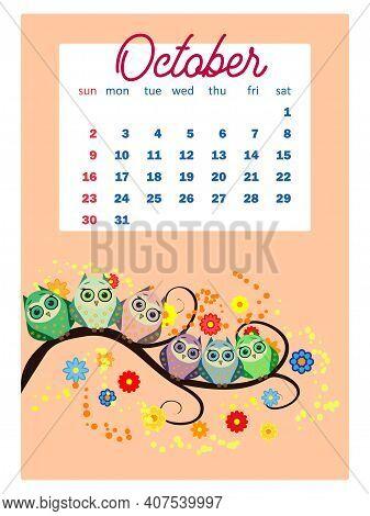 Calendar 2022. Cute Calendar With Funny Cartoon Owls