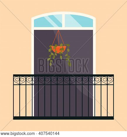 Balcony With Iron Fence With Patterns. Large Window Without Shutters Flat Vector Illustration. Windo