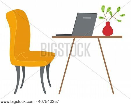 Cozy Home Interior With Comfort Yellow Soft Armchair, Coffee Table, Laptop And Green Branch In A Vas
