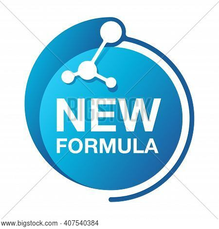 New Formula Circular Futuristic Pictogram Molecular Cell With - Isolated Vector Sticker For Packagin
