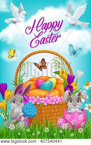 Easter Egg Hunt Basket And Bunnies Vector Design. Easter Religion Holiday Rabbits With Eggs, Cake An