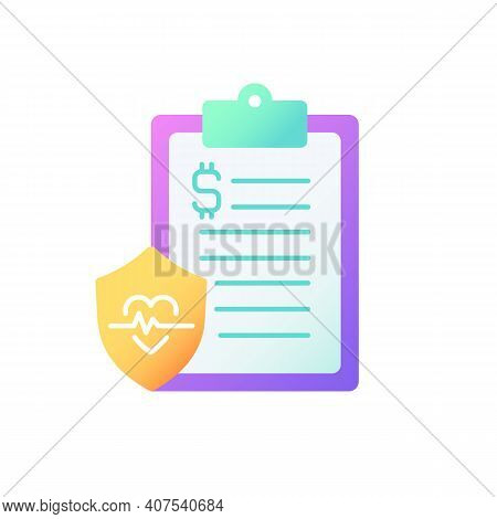 Insurance Data Vector Flat Color Icon. Health Insurance Coverage. Paying For Medical, Surgical Expen