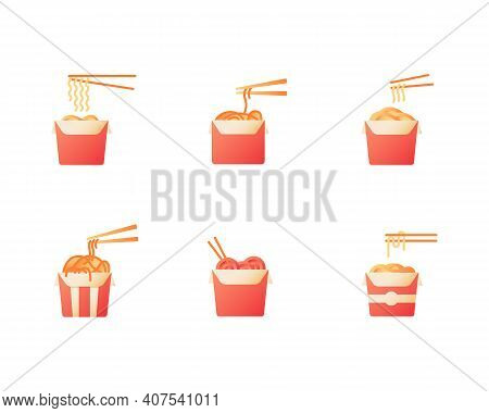Noodles For Takeout Vector Flat Color Icon Set. Chinese Cafe Take Away. Oriental Meal. Fast Food Del
