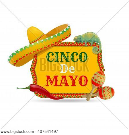 Cinco De Mayo Vector Icon With Traditional Mexican Symbols Sombrero Hat, Chameleon, Maracas And Red