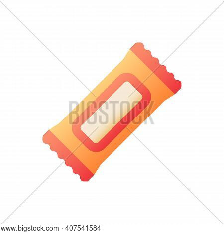 Protein Bar Vector Flat Color Icon. Nutritional Snack. Treat In Wrap. Diet Supplement. Fitness Exerc