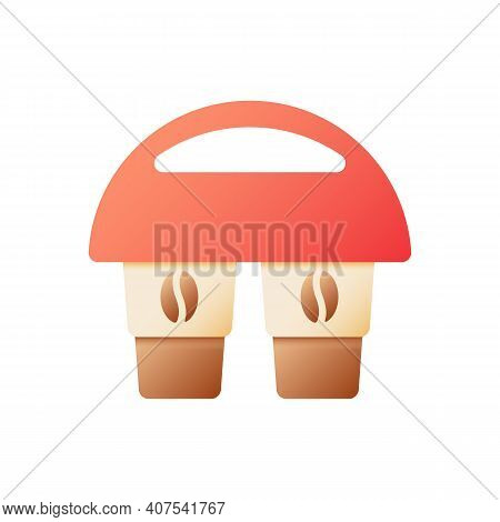 Americano Take Away Vector Flat Color Icon. Mocha In Carton Holder To Carry. Latte For Take Out. Dri