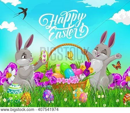 Easter Bunnies With Eggs, Vector Religion Holiday. Rabbit Animal Characters With Easter Basket On Sp