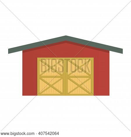 Farm Barn Colorful Illustration Isolated On White Background. Vector.