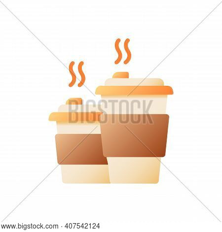 Tea Takeout Vector Flat Color Icon. Hot Drink In Disposable Cups. Coffee Take Out. Cafe Take Away Or
