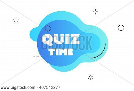 Quiz Time Logo With Clock, Concept Of Questionnaire Show Sing, Quiz Button