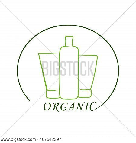 Logo Cosmetic Company Green. Organic Cosmetics. Silhouette Of A Tube And A Bottle Of Cosmetics. Hand