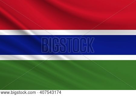 Flag Of Gambia. Fabric Texture Of The Flag Of Gambia.