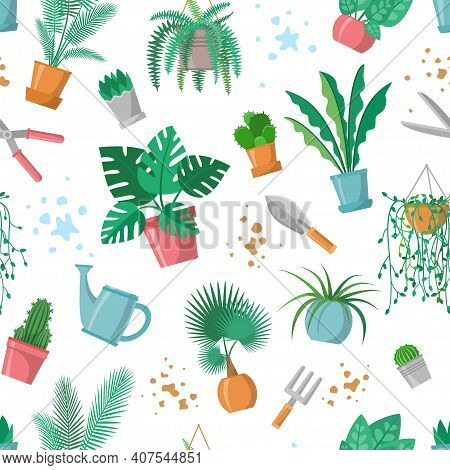 Green Fingers Sign With Garden Tools, Home Plants And Mud, Phrase For Plants Lovers, Scissors, Fork,