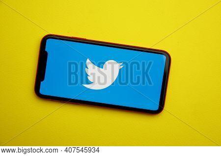 Tula, Russia - January 28, 2020: Twitter Logo On Iphone Display