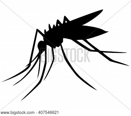 Black Silhouette Of Mosquito Isolated From White Background. Flying Insect. Mosquito Icon. Midge. Ti