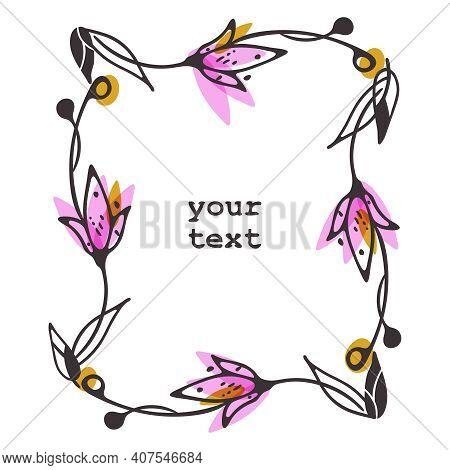 Vector Doodle Decorative Frame. Hand Drawn Sketchy Ink Line, Elements Of Flower, Leaves