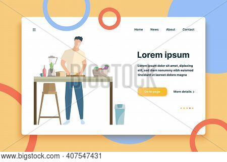Man Preparing Smoothie Of Vegetables Flat Icon. Cooking, Vegetarian, Healthy Eating. Leisure Concept