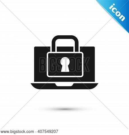 Grey Laptop And Lock Icon Isolated On White Background. Computer And Padlock. Security, Safety, Prot