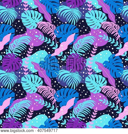 Fantasy Seamless Pattern With Palm And Monstera Leaves. Delicate Print For Fabric, Clothing, Gift Wr