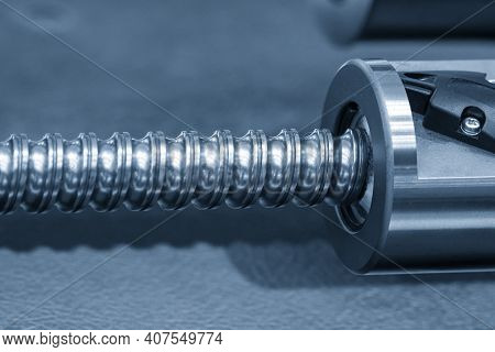 The Close-up Scene Of Lead Ball Screw Assembly Spare Part. The Hi-precision Manufacturing Concept.
