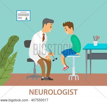 Neurologist Examining Boy For Diagnosis In Hospital Room. Doctor Doing A Physical Examination Of The