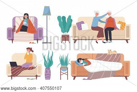 Set Of Illustrations On Theme Of Spending Time On Self-isolation During Illness. Wife Puts Her Hand