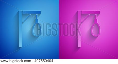 Paper Cut Gallows Rope Loop Hanging Icon Isolated On Blue And Purple Background. Rope Tied Into Noos