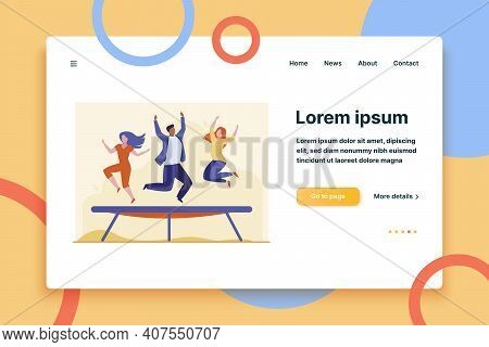 People Jumping On Trampoline. Friends Enjoying Activity, Having Fun Flat Vector Illustration. Bounci
