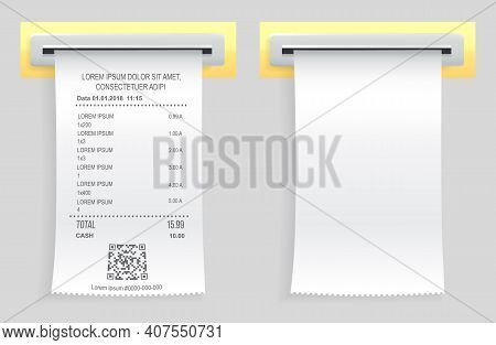 Payment Check Paper Document Poked Out Of Cash Register. Buying Financial Invoice Bill Purchasing Ca