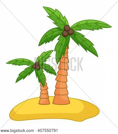 Palm Trees With Coconut On The Sand Island Flat Vector Illustration. Coconut Tree With Nuts Isolated