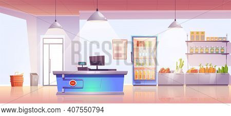 Grocery Store With Cashier Desk Empty Shop Interior With Production On Shelves And Cold Drinks In Re