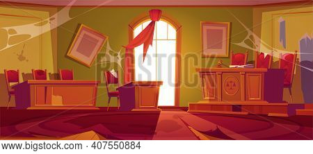 Old Courtroom Interior With Broken Judge Table With Hammer And Mess. Vector Cartoon Illustration Of