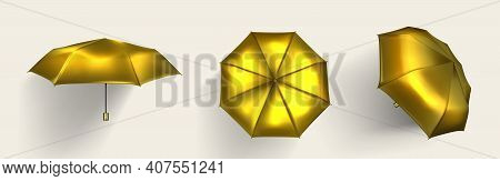 Gold Umbrella, Golden Parasol Top, Side And Front View With Shadow, Luxury Accessories For Protectio