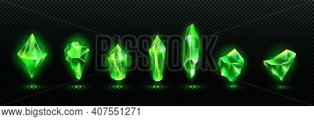 Precious Emerald Stones, Shiny Green Crystals Isolated On Transparent Background. Vector Realistic S