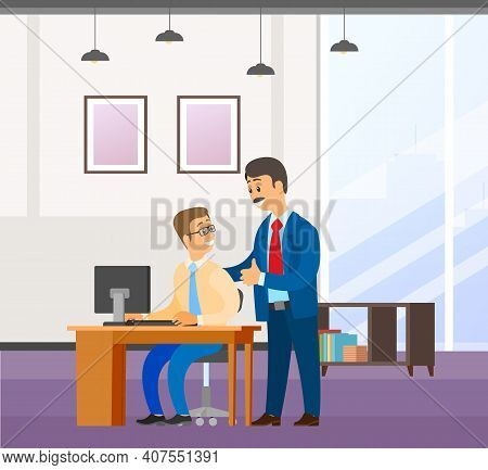 Two Businessman Communicates. Good Deal, Concept Of Business Partnership Vector Cartoon Style Charac